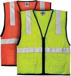MLK 1191 & 1192 - ANSI Class 2 - Economy 6-Pocket ANSI Mesh Vest - Lime & Orange