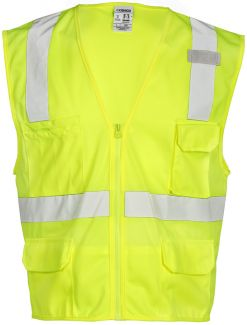 Kishigo 1291 | 1292 Economy Series Class 2 Multi-Pocket Solid - Safety Vest with 6 Pockets and Zipper Front Closure
