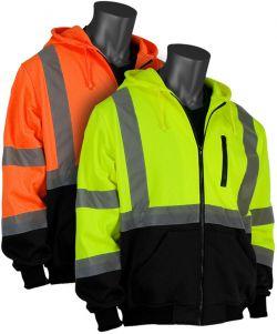 PIP ANSI Class 3 Zip Front Hoodie Black Bottom Sweatshirt - Lime and Orange