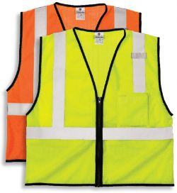 ML Kishigo ANSI Class 2 Mesh Fabric Safety Vest with Zipper and Left Chest Pocket