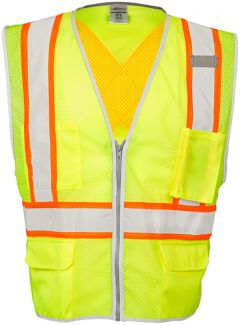 CLOSE OUT - Class II - Brilliant Series X-Back Vest -Lime-4X-5X