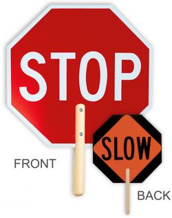 "18"" STOP/SLOW Non-Reflective Handheld Sign"