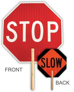 "18""  STOP/SLOW HI Intensity Reflective Handheld Sign"