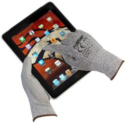 Touch Screen Gray PU Palm Coated Speckle Gray HPPE Gloves