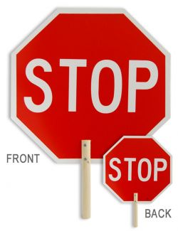 """18"""" STOP/STOP Non-Reflective Handheld Paddle"""