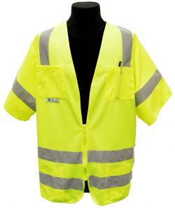 ANSI Class III Solid Fabric Safety Vest - Lime - Front