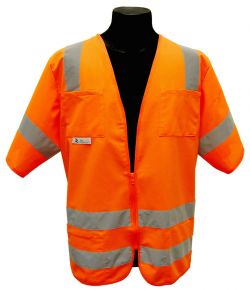 ANSI Class III Solid Fabric Safety Vest - Orange - Front