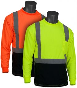 PIP 312-1350B  ANSI Class 2 Long Sleeve Black Bottom T-shirt - Lime and Orange