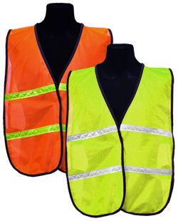Tight Mesh Safety Vest w/Horizontal Reflective - L/XL
